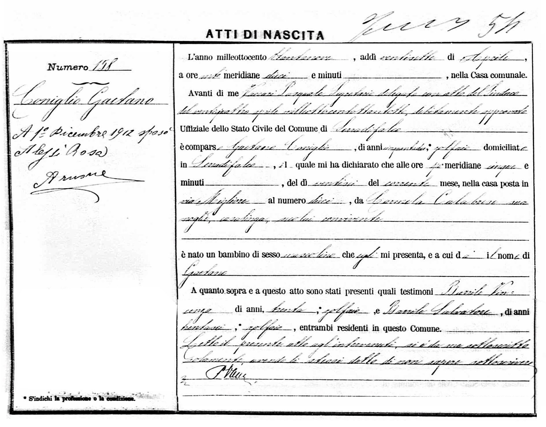 find birth record sicily italy