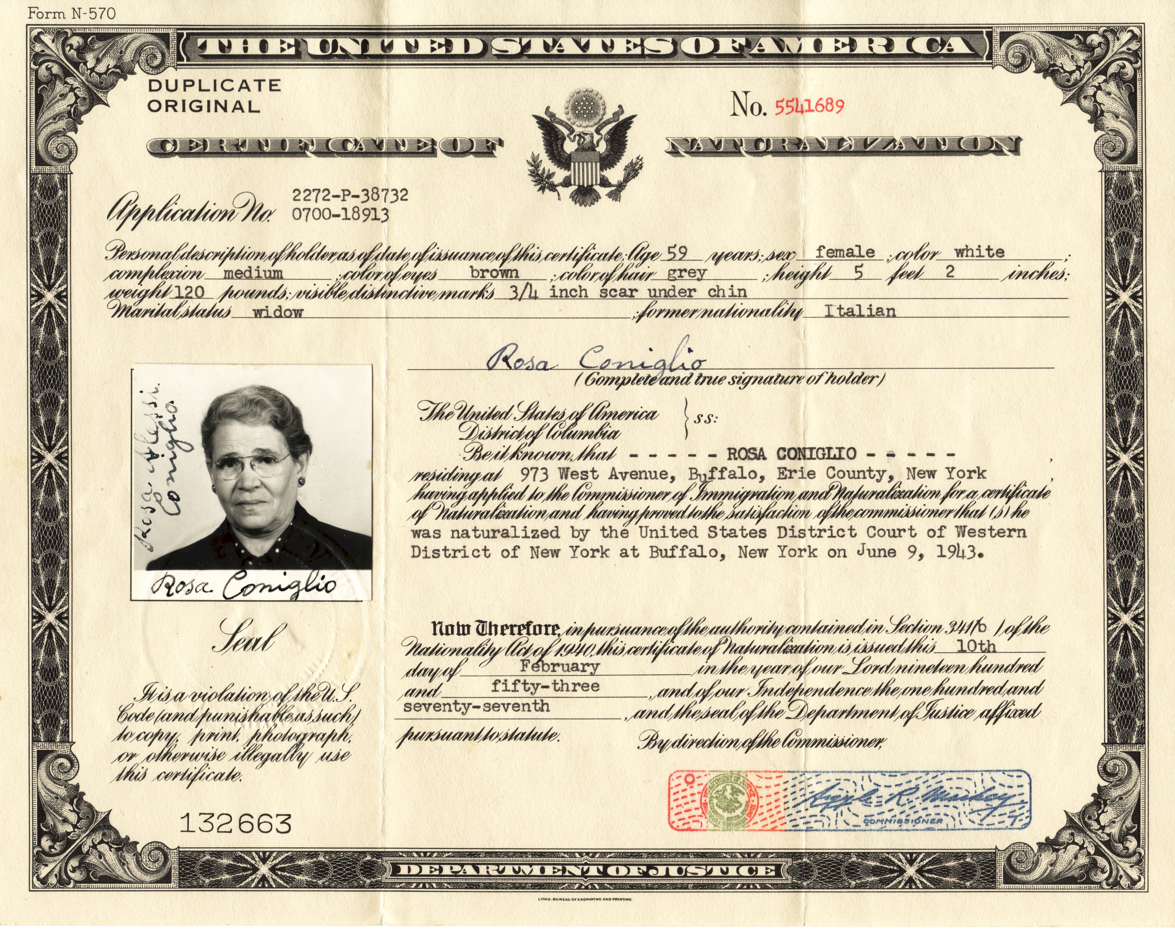 Best of photograph of naturalization certificate business cards rosa alessi coniglio xflitez Image collections